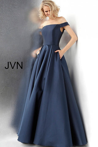 JVN by Jovani 64231 off the shoulder open back prom dress ball gown