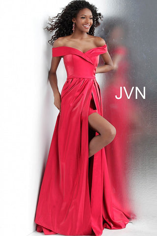 JVN by Jovani 64244 off the shoulder high slit prom dress