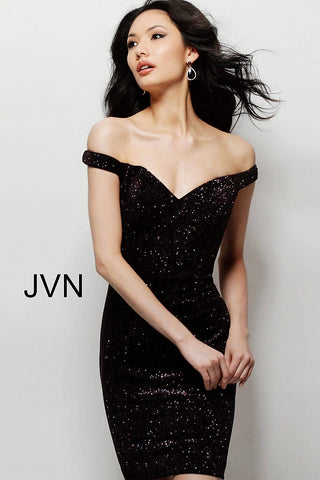 JVN by Jovani 64563 off the shoulder fitted homecoming dress cocktail dress