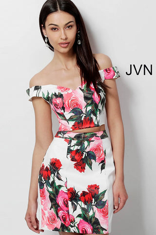 JVN by Jovani 64961 two piece short fitted homecoming dress
