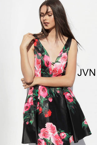 JVN by Jovani 65166 floral print short homecoming dress