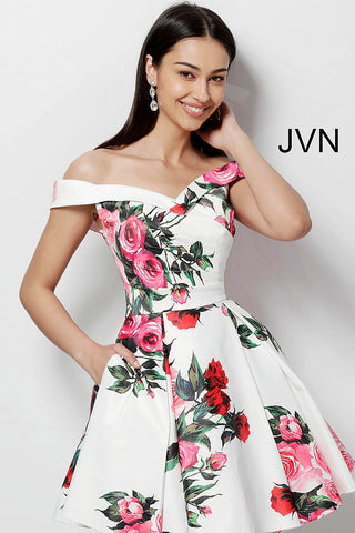 JVN by Jovani 65429 off the shoulder fit and flare homecoming dress-