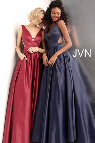 0e676d3313495 JVN by Jovani 65483 V back pleated skirt prom dress ball gown-