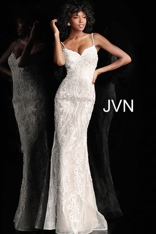JVN by Jovani 65529 spaghetti straps embellished lace fitted prom dress-