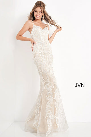 JVN65529 Ivory and nude embellished and embroidered prom dress with a v-neckline, spaghetti straps, sleeveless fitted bodice and straight back, floor-length fitted skirt with sheer overlay. Evening gown informal wedding dress. JVN 65529  Available Sizes: 00,0,2,4,6,8,10,12,14,16,18,20,22,24  Available Colors: Ivory/Nude Glass Slipper Formals Wedding Dress Reception Gown
