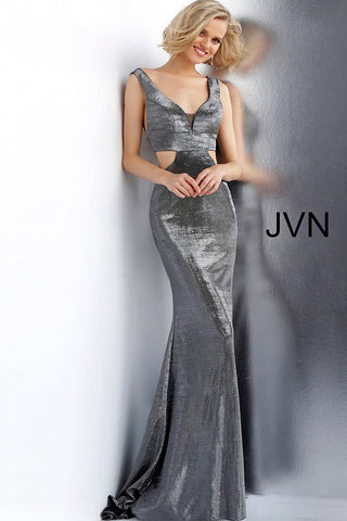 Jovani JVN65600 fitted open back metallic prom dress evening gown cutout sides