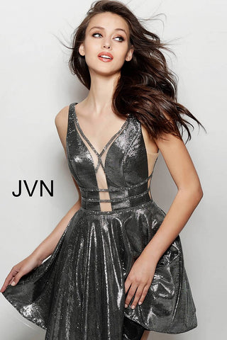 Jovani JVN 65631 metallic short Fit Flare Cocktail Cut Out homecoming dress