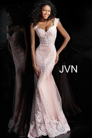 JVN 65688 Prom Dress Sheer Corset with off the shoulder straps, mermaid silhouette. Sheer Corset with boning Embellished floral lace appliques cascade across the fitted bodice and features cap sleeve / Off the shoulder Scallop lace edged straps. Fit & Flare Mermaid Silhouette with a lush trumpet skirt with lace edges & train. Great romantic prom dress style. Also perfect for wedding guests & Plus Size!