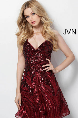 JVN65805  This is a short fit and flare cocktail dress with beaded sequin pattern and a cutout open back.  Available colors:  Black/Nude, Burgundy, Navy/Nude, Gold