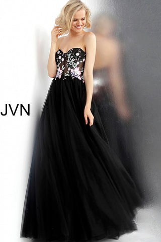 JVN by Jovani 65818 Black/Multi floral bodice strapless A line prom dress