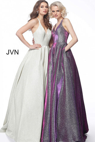 JVN65851 Photo of two dresses champagne and purple iridescent shimmer prom dress A line ball gown with pockets