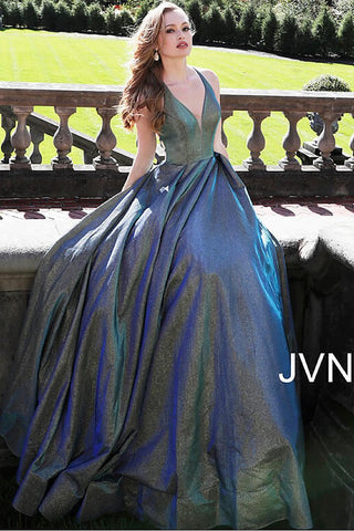 JVN65851 Green/Blue iridescent shimmer prom dress with plunging neckline with sheer courtesy panel and spaghetti straps that criss cross in the back and connects to a sheer semi corset back at the zipper full evening gown ball gown