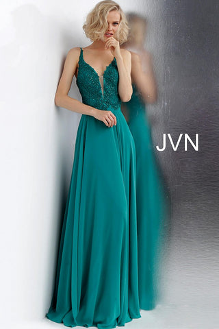 Jovani JVN65904 tie back corset plunging neckline prom dress lace bodice evening gown