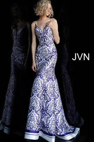 Jovani JVN 65906 Size 10 White print mermaid Prom Dress Pageant GownV neckline