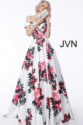 JVN by Jovani 65965 Off the shoulder white floral print prom dress