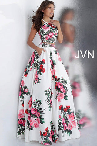 2002dd31bc74 JVN by Jovani 66058 two piece floral prom dress ball gown –  GlassSlipperFormals
