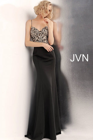 JVN by Jovani 66059 embellished train long prom dress
