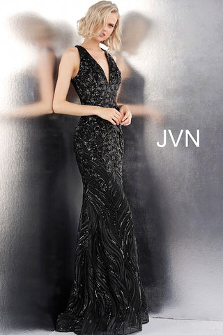 JVN by Jovani 66261 sleeveless embellished open back prom dress -