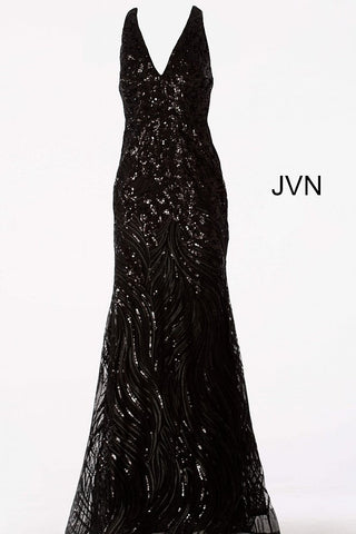JVN by Jovani 66261 Black halter neckline open back sequin fitted mermaid prom dress evening gown pageant dress