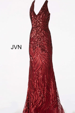 JVN by Jovani 66261 Burgundy halter neckline open back sequin fitted mermaid prom dress evening gown pageant dress
