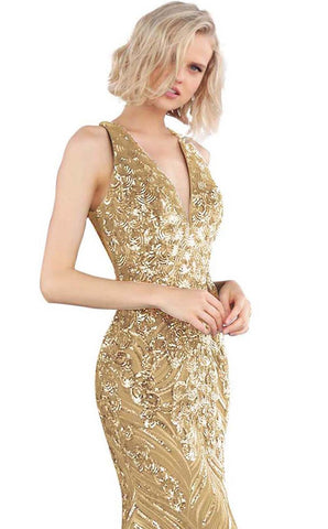 Jovani JVN 66261 Gold Sizes 2, 6 prom dress Sequin Backless Formal Gown