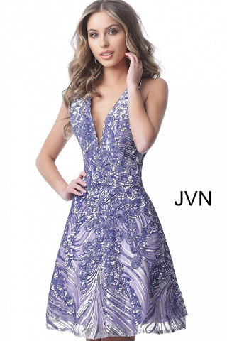Jovani JVN66654 v neckline cutout sheer back short sequin cocktail dress homecoming dress Sequin Short Fit & Flare Cocktail Dress Backless Halter Homecoming JVN 66654  Available colors:  Burgundy, Gunmetal, Lilac, Red, Rose/Gold, Silver  Available sizes:  00-24