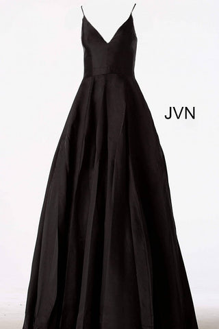 JVN66673 lace up corset open back satin A line pleated ballgown with v neckline and spaghetti straps evening gown prom dress