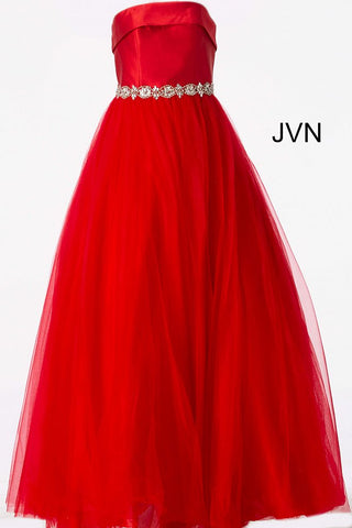 JVN66687 size 0 Red strapless prom dress ball gown with crystal belt straight lapel neckline Prom Dress Pageant Gown