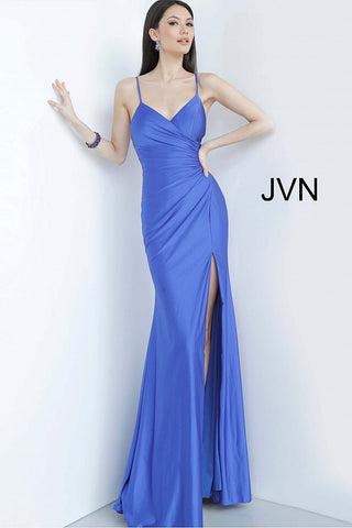 JVN Jovani 66714 Ruched bodice satin fitted prom dress evening gown