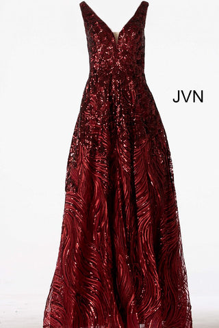 JVN66727  Metallic sequin embellished formal prom ballgown with a plunging mesh insert neckline, sleeveless bodice, and v-back, floor-length A-line pleated skirt with sheer overlay.