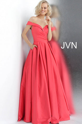 15e2cbc31f4ac JVN by Jovani 66894 off the shoulder prom dress ball gown –  GlassSlipperFormals
