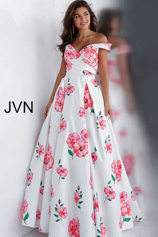 JVN by Jovani 66895 floral print off the shoulder prom dress ball gown