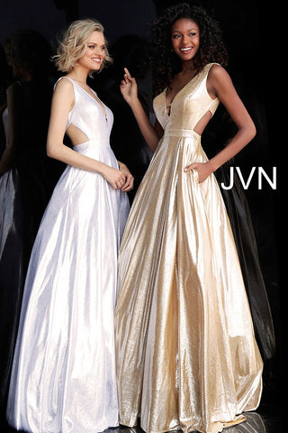 JVN by Jovani 66900  metallic prom dress ball gown with pockets