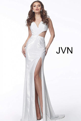 JVN by Jovani 66942 One side cutout fitted prom dress in White