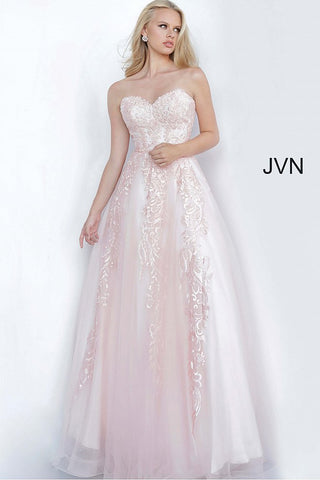 JVN66970 Embroidered tulle ballgown, nude underlay, full floor length skirt, strapless bodice, embellished with heat set stones, sweetheart neckline.