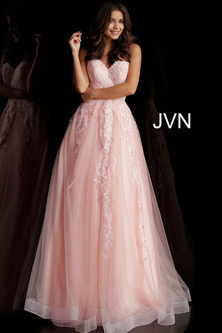 JVN by Jovani 66970 Long Lace Embellished Ball Gown Prom Dress Tulle 2020 Ruffle