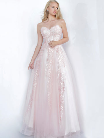 Jovani JVN 66970 Long Lace Embellished Ball Gown Prom Dress Tulle 2020 sweetheart