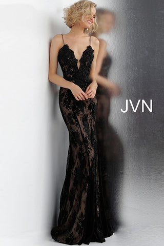 JVN66971 Black lace prom dress with nude lining underneath cutout back evening gown