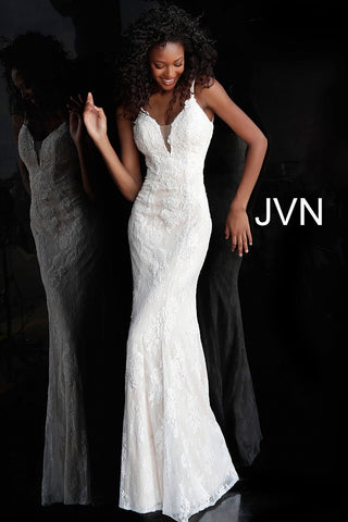 Jovani JVN66971 Size 8 Ivory destination wedding dress Bridal Gown Lace Plunging
