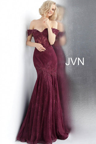 JVN66981 Bordeaux embroidered and embellished prom dress with an off-the-shoulder sheer corset bodice, sweetheart neckline and sheer back, floor-length fitted skirt with a pleated end and sweeping train.