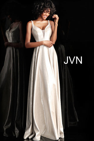 JVN67050 metallic prom dress with a plunging mesh insert neckline, sleeveless fitted bodice, and v-back, embellished waist belt and floor-length pleated flowy A line skirt in Shimmery Silver
