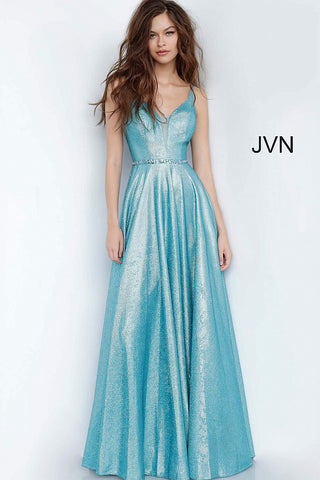 JVN67050 peacock metallic prom dress with a plunging mesh insert neckline, sleeveless fitted bodice, and v-back, embellished waist belt and floor-length pleated flowy skirt.