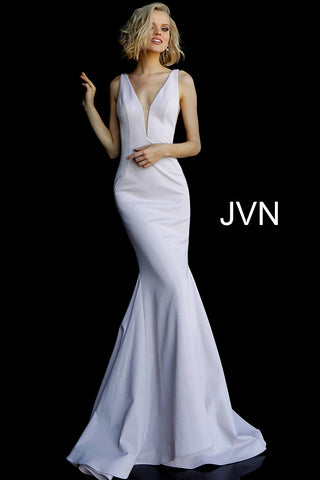 Jovani JVN67089 sleeveless plunging neckline prom dress sweeping train