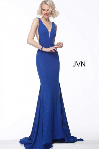 JVN67093 Stretch glitter evening dress, form fitting silhouette, floor length skirt with flare end and sweeping train, sleeveless bodice with sheer sides, plunging neckline, open v shape back evening gown pageant dress prom dress.