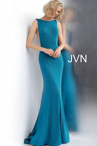 JVN by Jovani 67094  backless glitter jersey prom dress