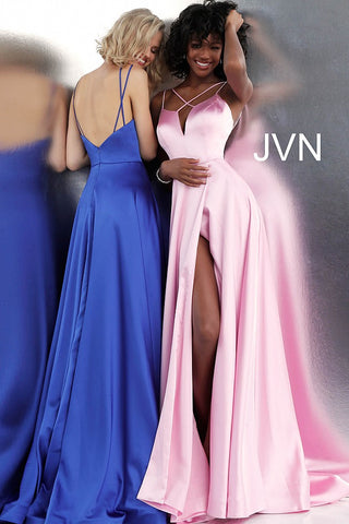 JVN by Jovani 67098 criss cross neckline satin prom dress ball gown -