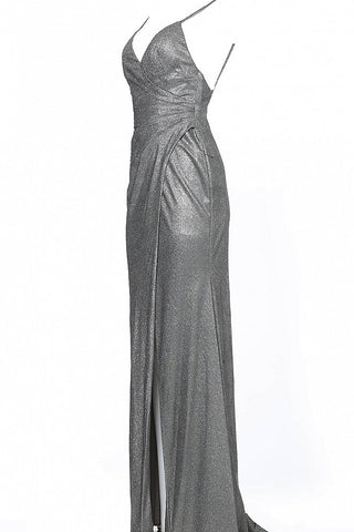 JVN67102 Silver metallic iridescent shimmer prom dress evening gown with ruched waistline