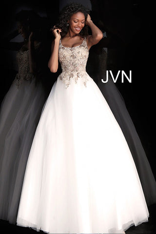 Jovani JVN 67127 Size 8 Sheer Embellished Corset Ballgown Dress White Gold