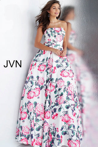 JVN by Jovani 67131 strapless white floral print prom dress ball gown