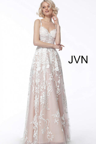 JVN by Jovani 67181 spaghetti straps lace prom dress white/pink